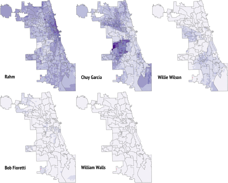Side-by-side maps of Chicago mayoral election results