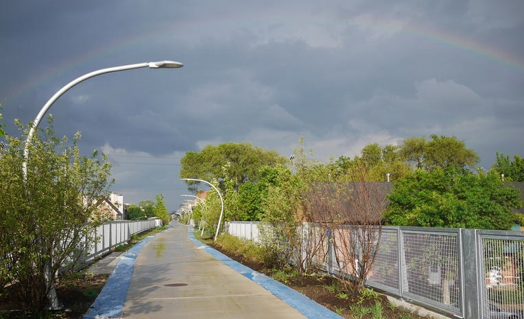 Photo of rainbow over The Bloomingdale Trail