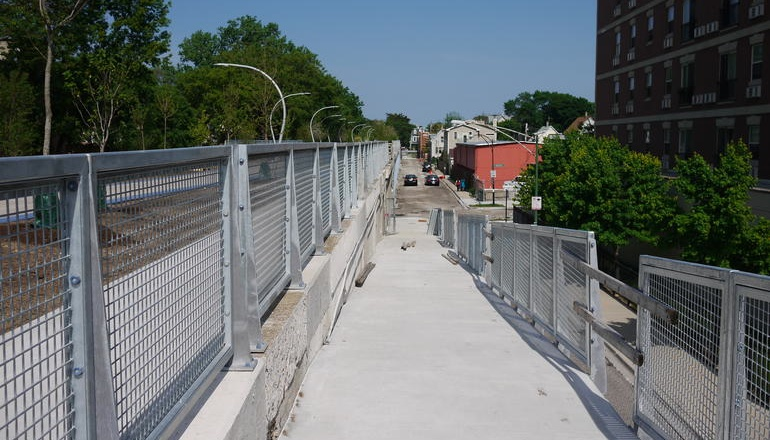 Photo of ramp down from The Bloomingdale Trail