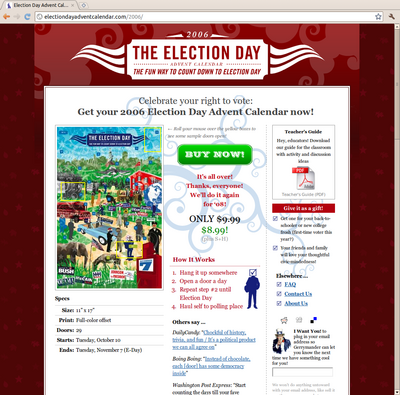 Screenshot of Election Day Advent Calendar