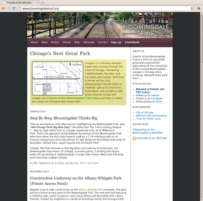 Screenshot of Friends of the Bloomingdale Trail